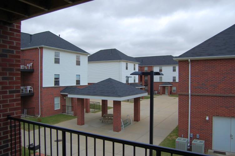 Blick von unserem Balkon in den Campus Village-Innenhof